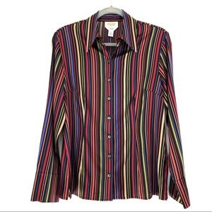 Talbots Silk Striped Button Front Career Blouse 10